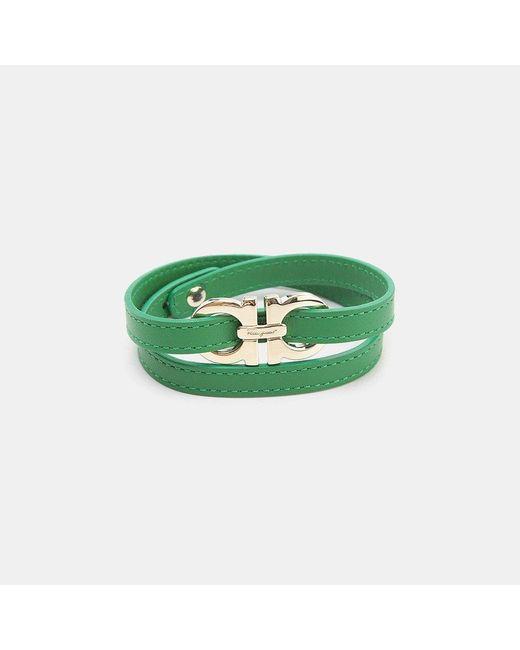 Ferragamo | Green Leather Wrap Bracelet | Lyst