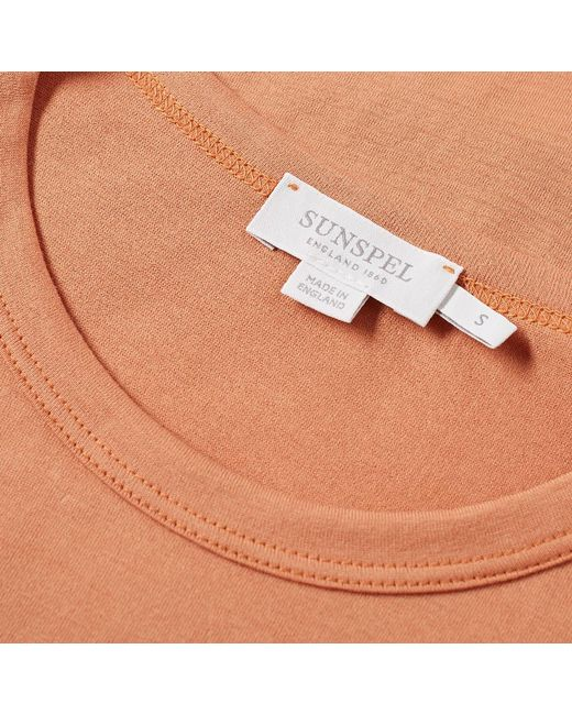 2057a94a653 Sunspel Classic Crew Neck Tee in Orange for Men - Save 31% - Lyst