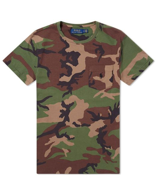88af0d51 Lyst - Polo Ralph Lauren Camo Pocket Tee in Green for Men - Save 61%