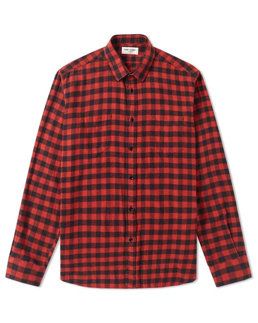 Saint laurent flannel check shirt in red for men lyst for Saint laurent check shirt