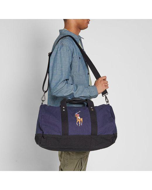 7286e49cbf98 ... Polo Ralph Lauren - Blue Polo Player Canvas Duffle Bag for Men - Lyst
