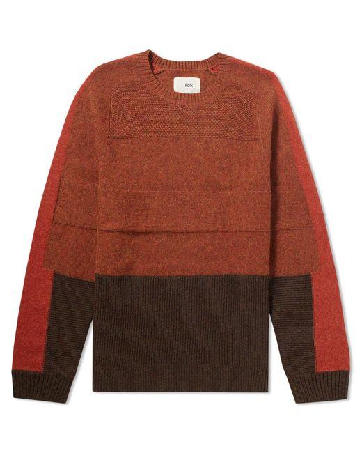 Folk - Orange Panel Texture Crew Knit for Men - Lyst
