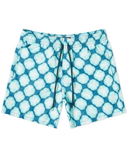 Vilebrequin Blue Moorea Turtle Dobby Print Swim Short for men