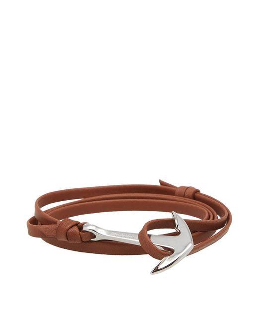 Miansai - Brown Silver Anchor Leather Bracelet for Men - Lyst