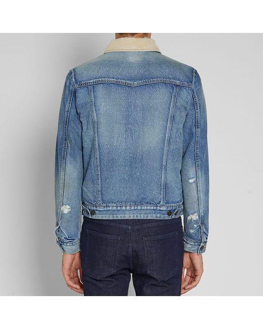 Lyst Saint Laurent Corduroy Collar Denim Jacket In Blue For Men