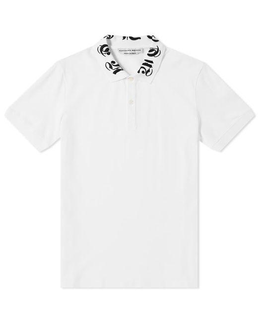 4d67af67 Alexander McQueen - White Gothic Logo Collar Polo Shirt for Men - Lyst ...
