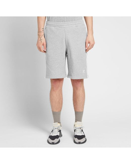 adidas Cotton 3 Stripe Short in Grey (Gray) for Men Save