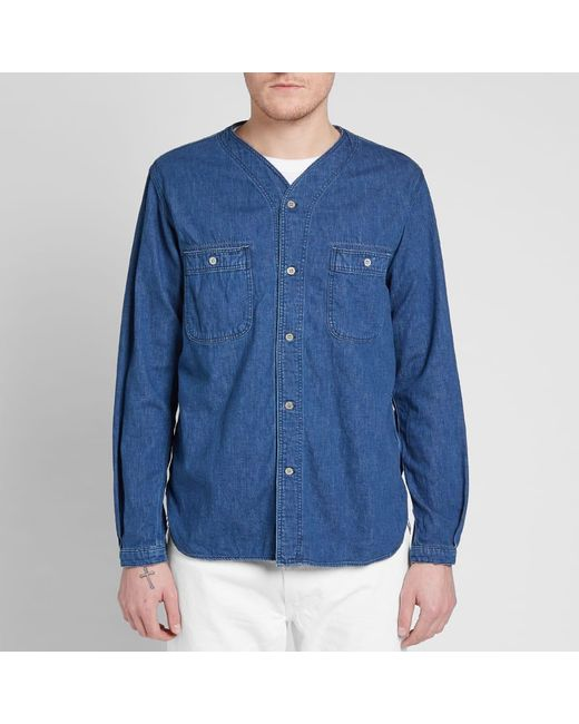 1f9a1c6035 ... Orslow - Blue No Collar Shirt for Men - Lyst ...
