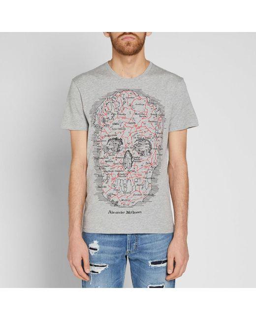 df8fe40f ... Alexander McQueen - Gray Skull Map Tee for Men - Lyst ...