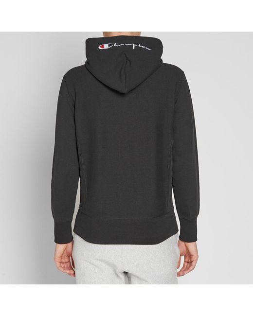 d1ee7547946 ... Champion - Reverse Weave Script Logo Zip Hoodie Sweatshirt - Black Xx- large for Men ...