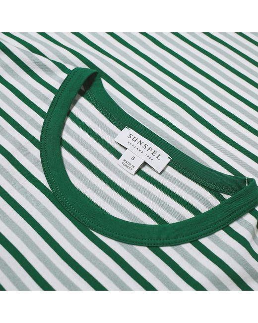 a69a3f4e7c7 ... Sunspel - Green English Stripe Contrast Rib Tee for Men - Lyst ...