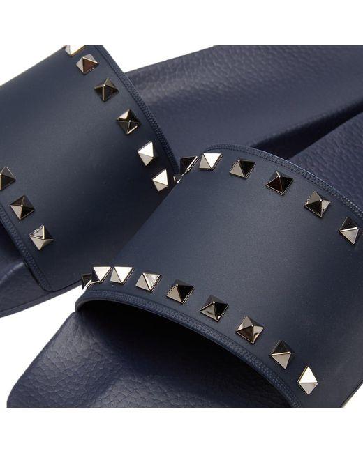 2c9b29e4ff6 Lyst - Valentino Men s Rockstud Vinyl Pool Slide Sandals in Blue for ...