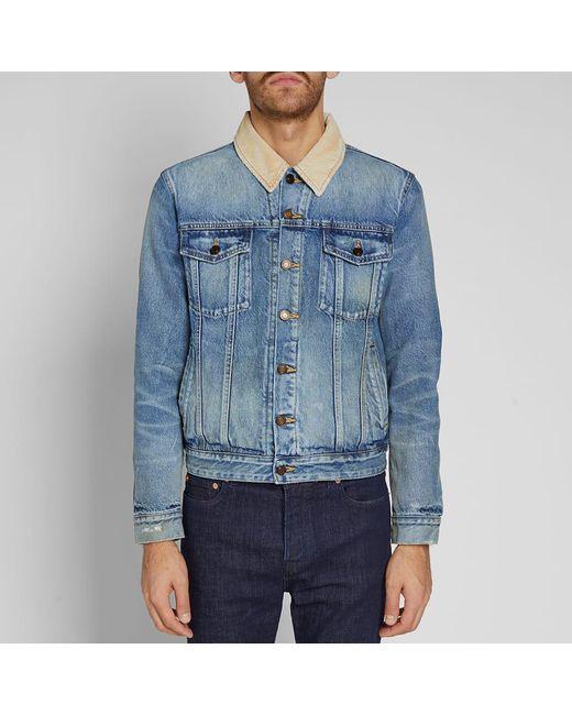 516e96b6b6 ... Saint Laurent - Blue Corduroy Collar Denim Jacket for Men - Lyst ...