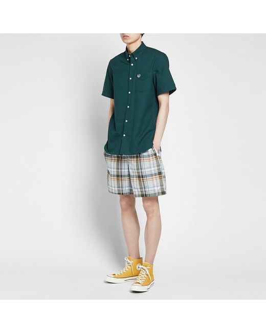 21680af3f1 ... Fred Perry Authentic - Green Fred Perry Madras Check Swim Short for Men  - Lyst