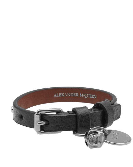 Alexander McQueen | Black Studded Leather Skull Bracelet for Men | Lyst