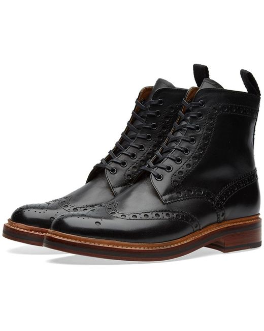 GRENSON - Black Fred Leather Brogue Boots for Men - Lyst