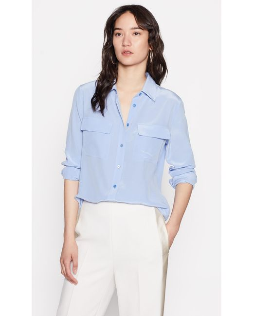 Equipment - Blue Slim Signature Silk Shirt - Lyst
