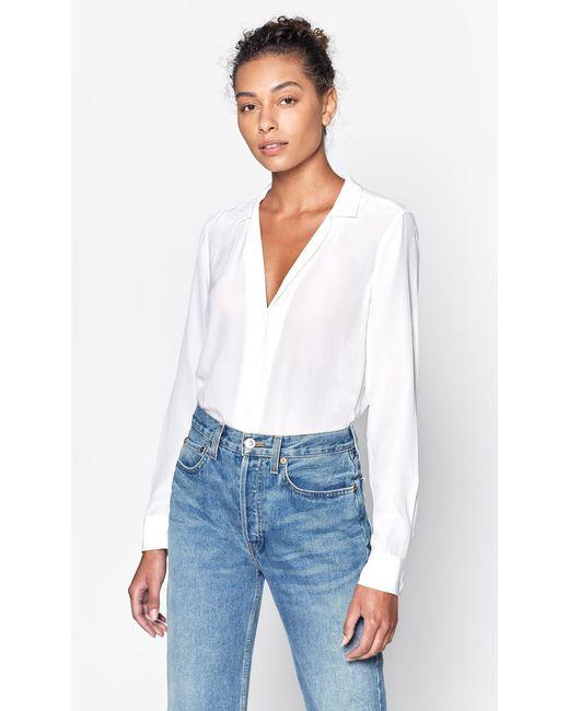 2d8ede3538d64f Lyst - Equipment Long Sleeve Adalyn Silk Shirt in White - Save 21%