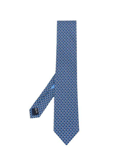 Ferragamo - Blue Logo Print Tie for Men - Lyst