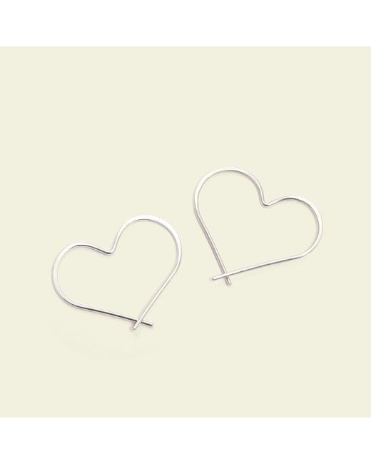 Erica Weiner - Metallic Heart Hoops (silver) - Lyst