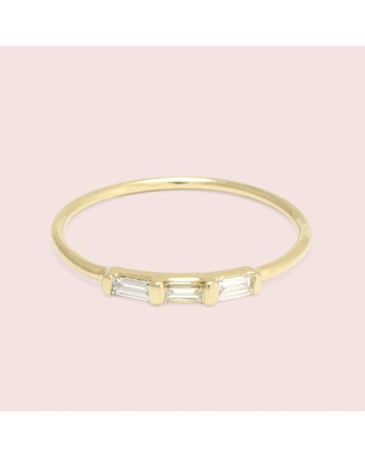 Erica Weiner - Metallic Past/present/future Diamond Baguette Ring (yellow Gold) - Lyst
