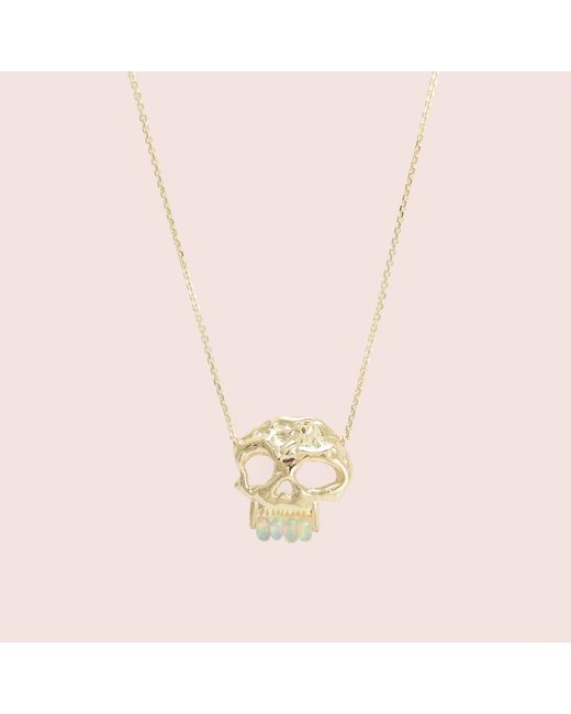 Erica Weiner | Multicolor Skull Necklace With Pearl Teeth | Lyst
