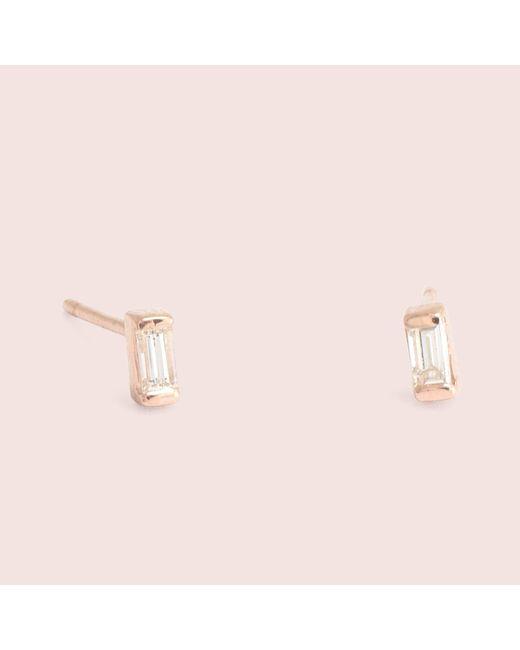 Erica Weiner - Pink Diamond Baguette Studs (rose Gold) - Lyst