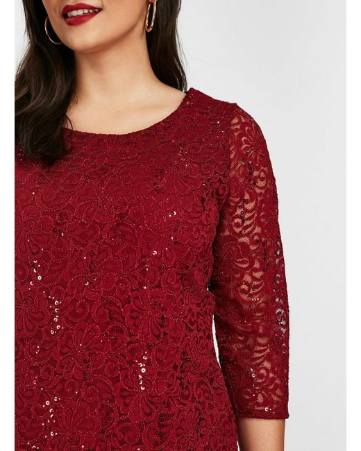 5961ff96326 ... Evans - Red **grace Berry Sequin Lace Tunic Top - Lyst ...