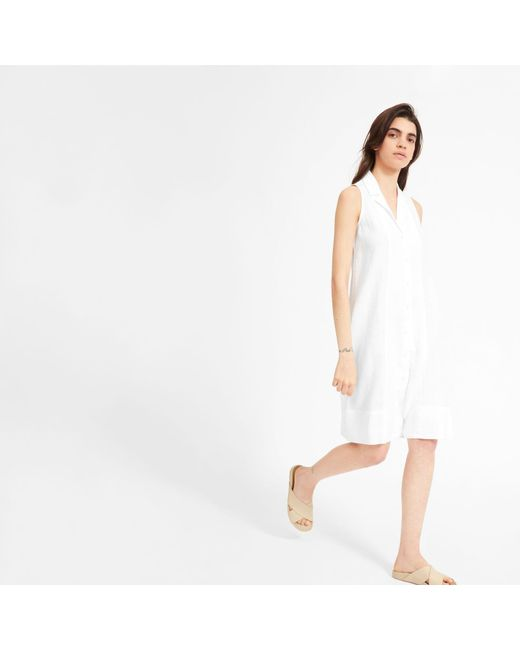 22f2a3b7ab6 Everlane - White The Linen Sleeveless Shirtdress - Lyst ...