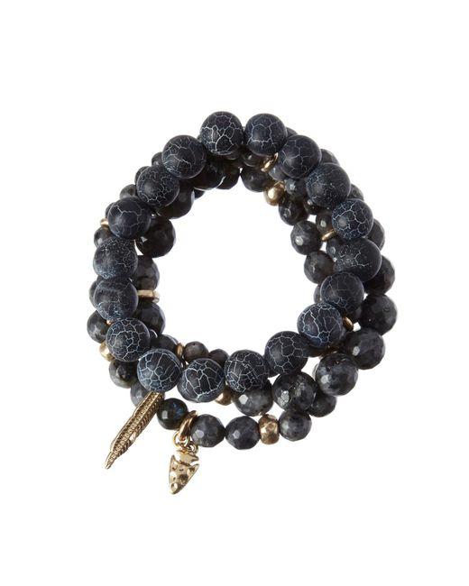 Cara   Black Beaded Bracelet Set   Lyst