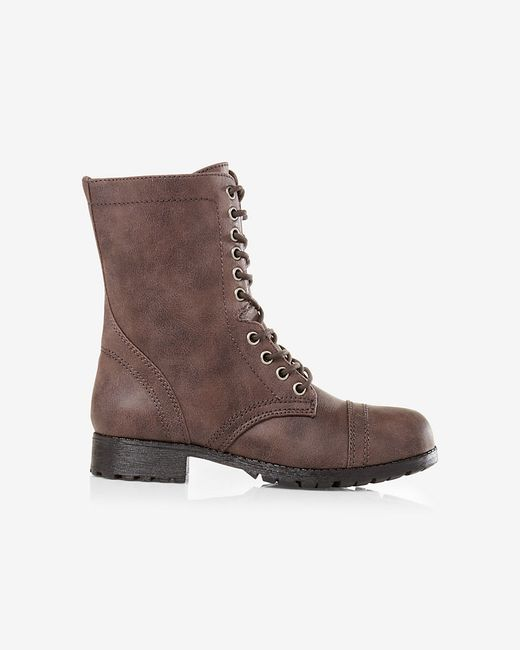 Express | Brown Lace-up Lug Sole Boot | Lyst