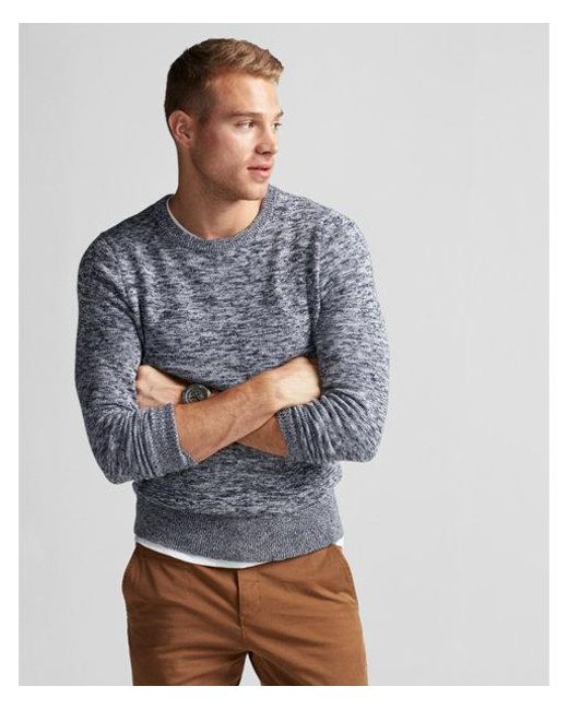 Express - Blue Marled Crew Neck Sweater for Men - Lyst