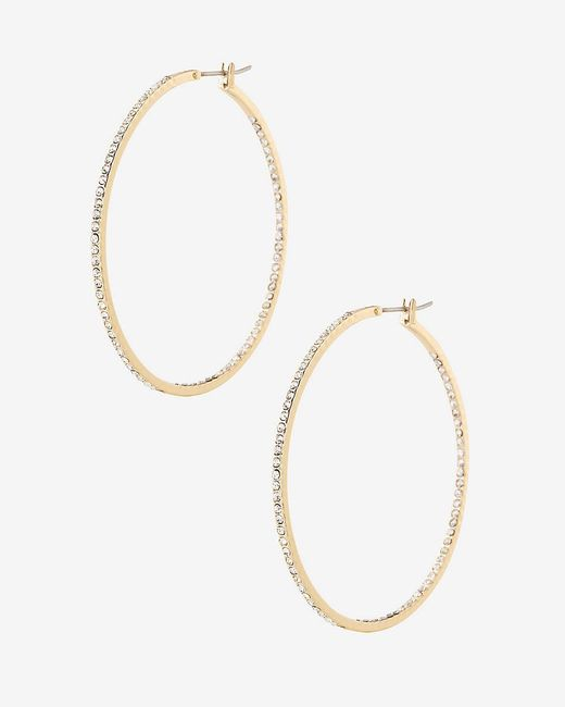 Express | Metallic Pave Hoop Earrings | Lyst
