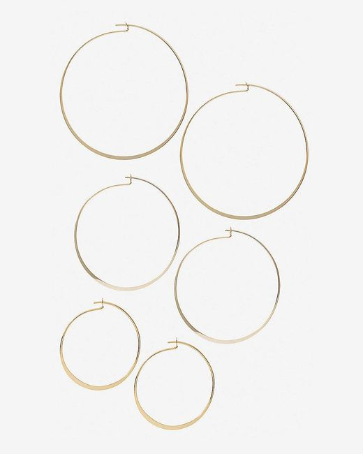 Express | Metallic Set Of Three Flat Hoop Earrings | Lyst