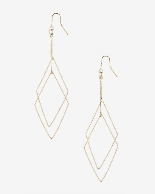 Express | Metallic Textured Double Diamond Dangle Earrings | Lyst