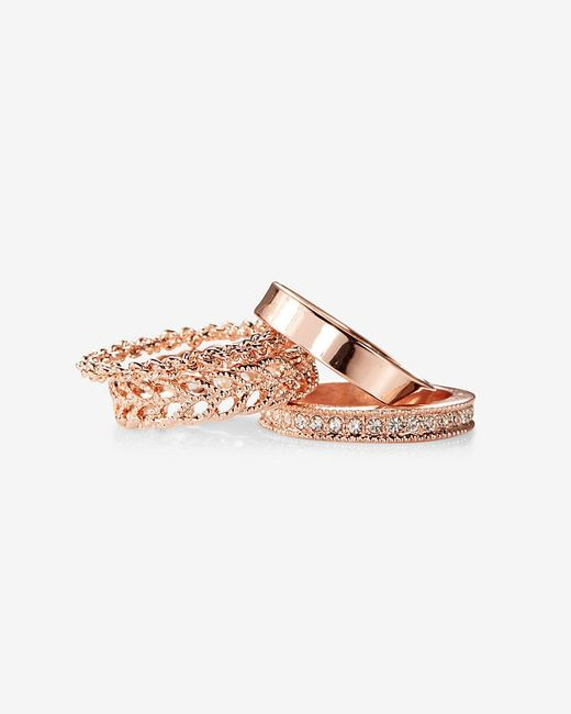 Express | Pink Four Textured Stackable Rings | Lyst