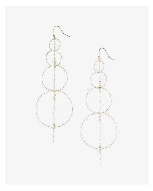 Express   Metallic Linear Hoop Drop Earrings   Lyst