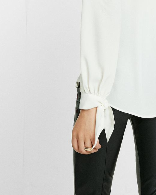 Express slim fit tie cuff portofino shirt in white lyst for Express shirt and tie