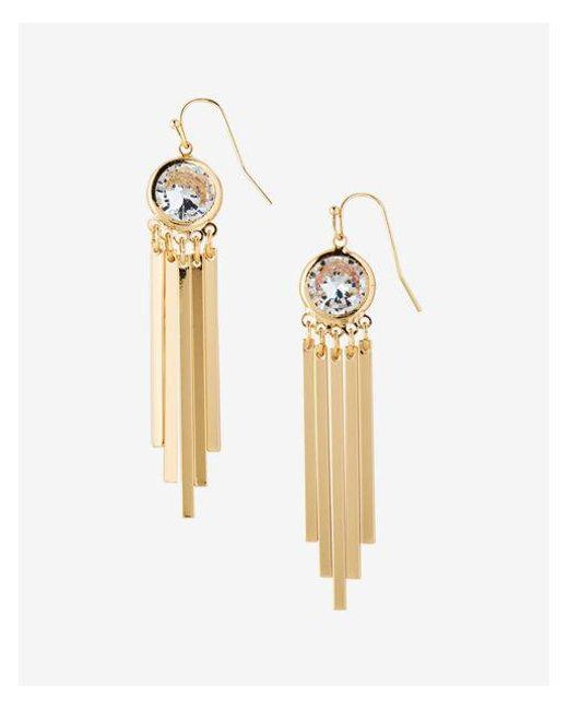 Express - Metallic Cubic Zirconia Bezel Stick Drop Earrings - Lyst