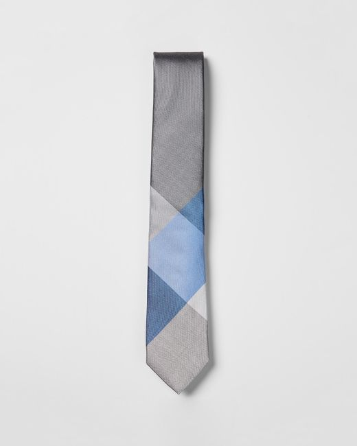 Express - Narrow Check Panel Silk Tie Blue for Men - Lyst