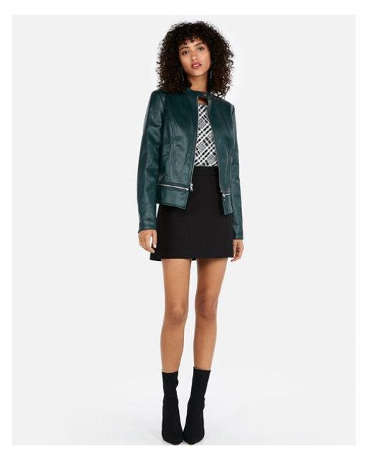 Express - Green Removable Zip Hem Faux Leather Jacket - Lyst