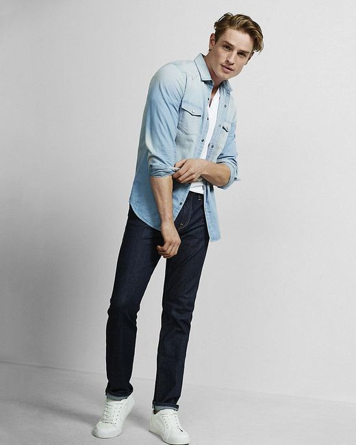 Express | Black Light Blue Western Denim Shirt for Men | Lyst