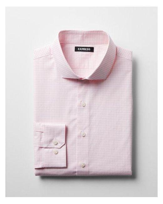 Express - Pink Slim Check Pattern Spread Collar Cotton Dress Shirt for Men - Lyst
