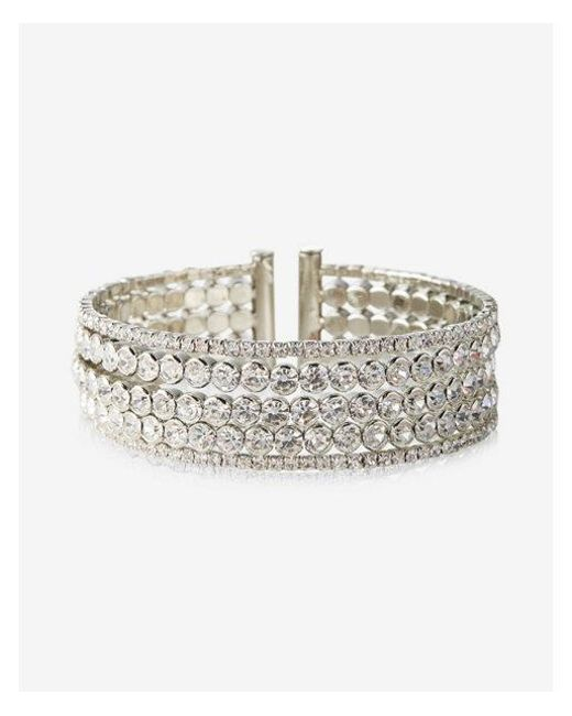 Express   Metallic Bezel Stone Cuff Bracelet   Lyst
