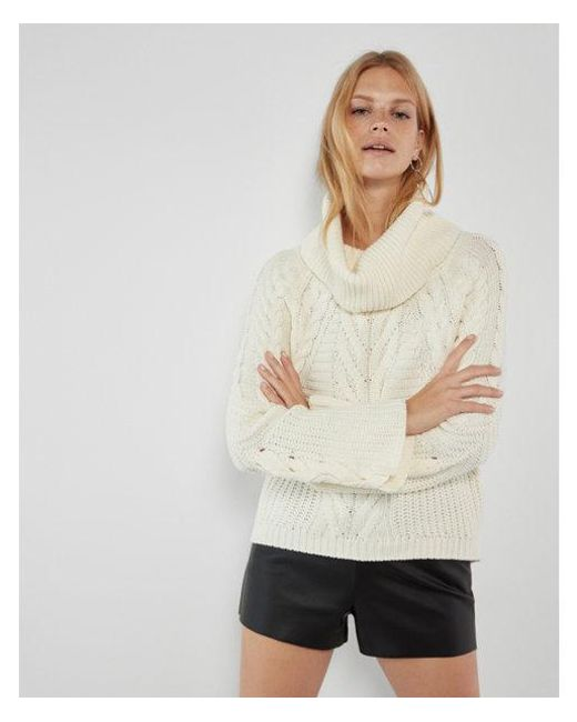 Lyst Express Cowl Neck Cable Knit Sweater In White