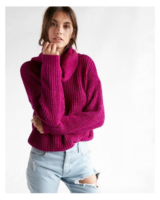 Express Tite Cozy Cowl Neck Sweater in Purple | Lyst