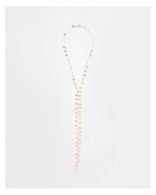 Express - Metallic Disc Fringe Y-neck Necklace - Lyst