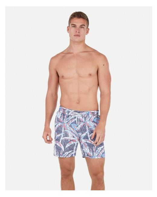 c95cafb4472 Lyst - Express Palm Print Drawstring Swim Trunks in Red for Men