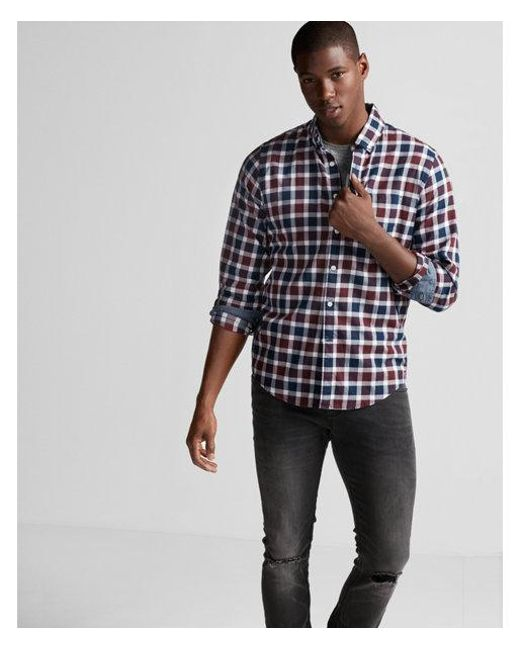 Express - Red Soft Wash Plaid Cotton Shirt for Men - Lyst