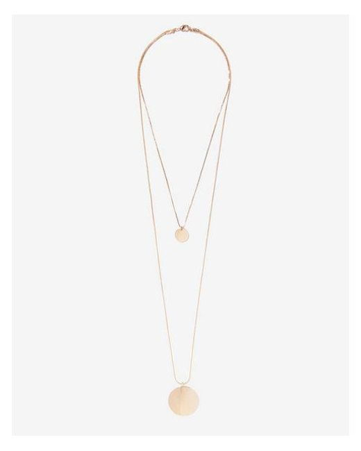 Express - Metallic Hi-lo Circle Pendant Necklace - Lyst